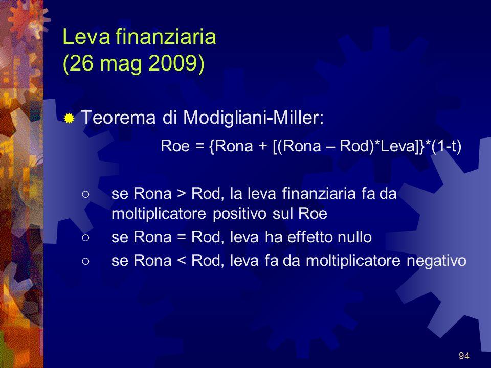 94 Leva finanziaria (26 mag 2009) Teorema di Modigliani-Miller: Roe = {Rona + [(Rona – Rod)*Leva]}*(1-t) se Rona > Rod, la leva finanziaria fa da molt