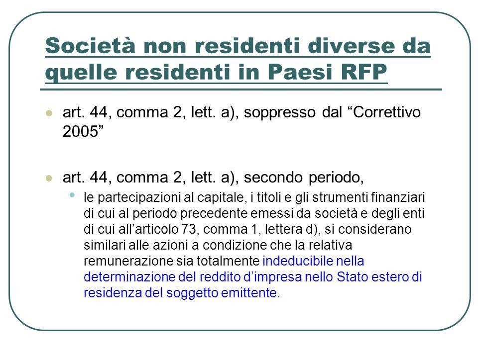 Società non residenti diverse da quelle residenti in Paesi RFP art.