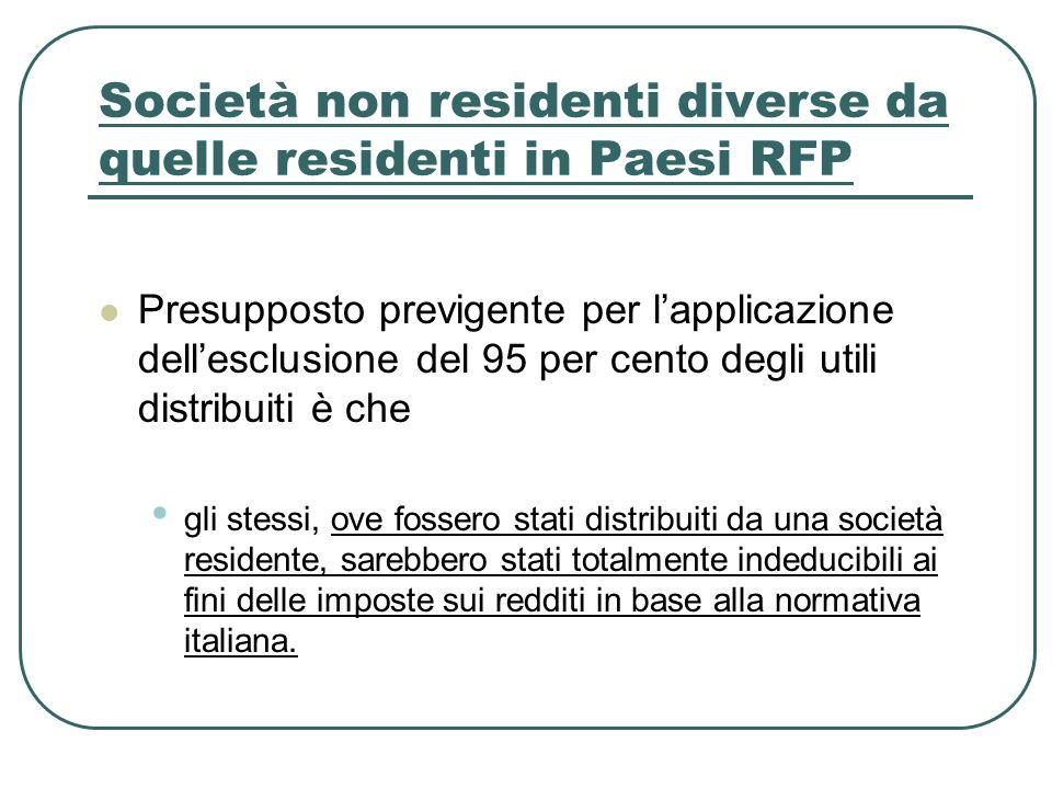 Società non residenti diverse da quelle residenti in Paesi RFP Presupposto previgente per lapplicazione dellesclusione del 95 per cento degli utili di