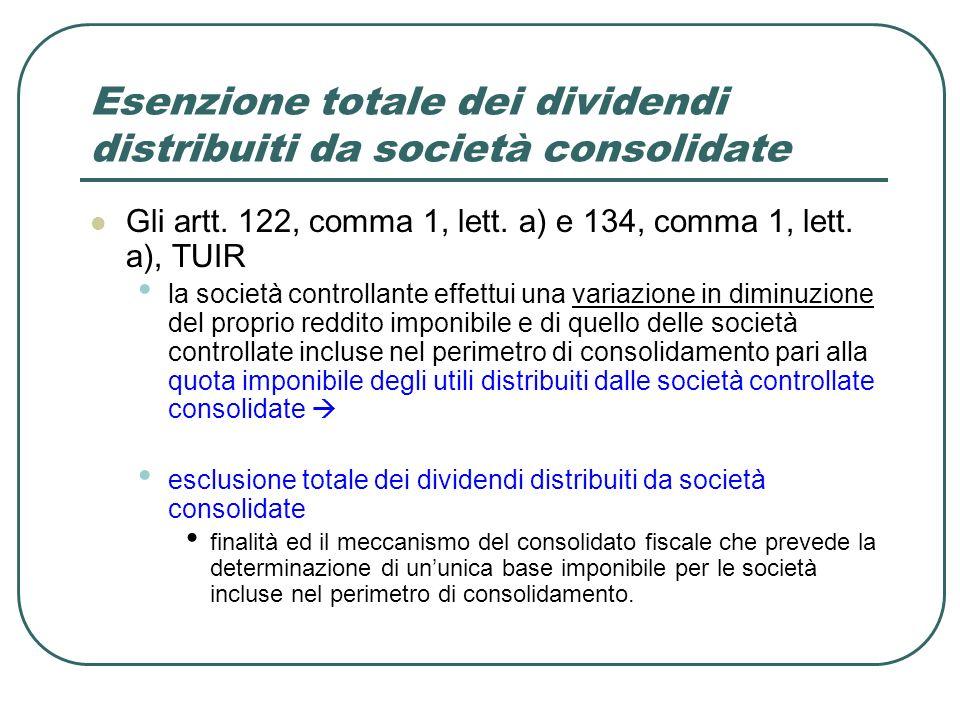 Esenzione totale dei dividendi distribuiti da società consolidate Gli artt. 122, comma 1, lett. a) e 134, comma 1, lett. a), TUIR la società controlla