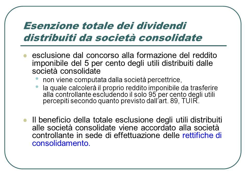 Esenzione totale dei dividendi distribuiti da società consolidate esclusione dal concorso alla formazione del reddito imponibile del 5 per cento degli