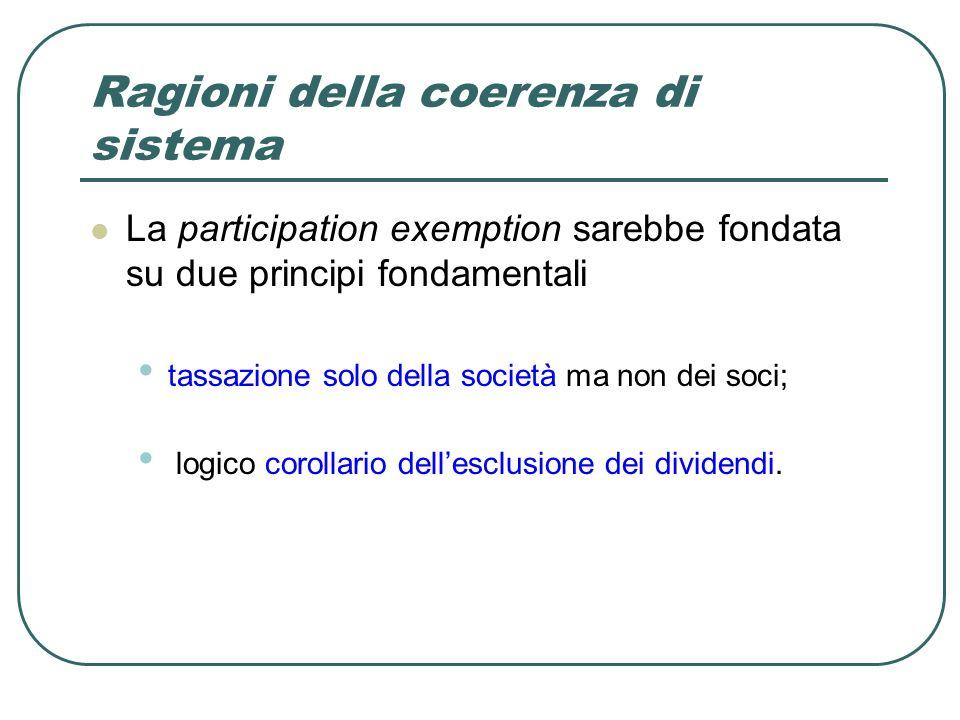 Ragioni della coerenza di sistema La participation exemption sarebbe fondata su due principi fondamentali tassazione solo della società ma non dei soci; logico corollario dellesclusione dei dividendi.