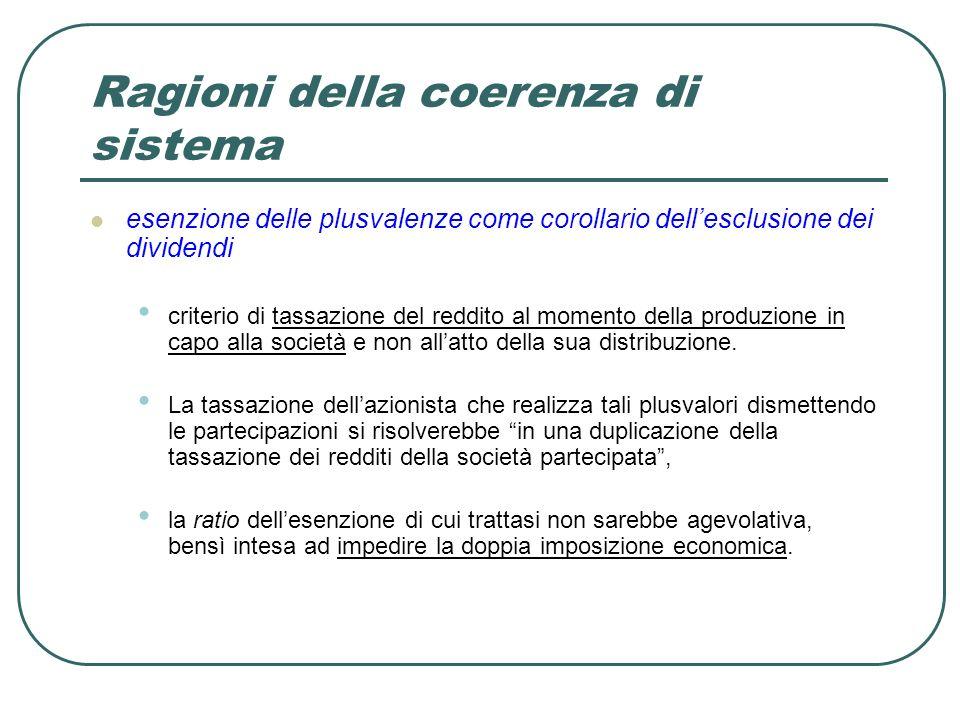 Ragioni della coerenza di sistema esenzione delle plusvalenze come corollario dellesclusione dei dividendi criterio di tassazione del reddito al momento della produzione in capo alla società e non allatto della sua distribuzione.