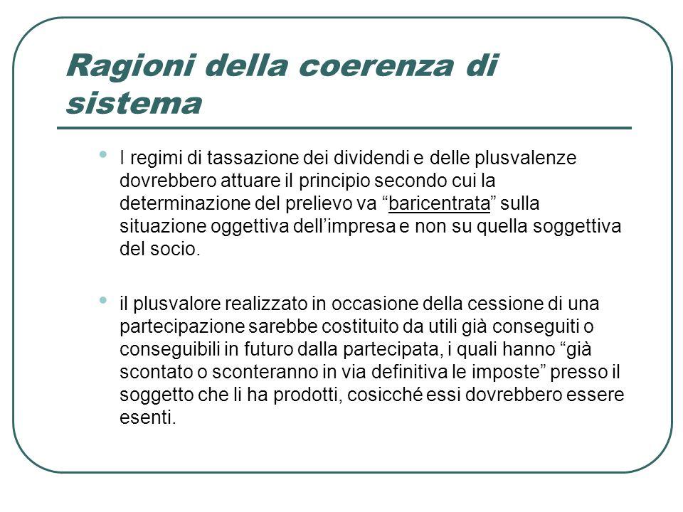 Ragioni della coerenza di sistema I regimi di tassazione dei dividendi e delle plusvalenze dovrebbero attuare il principio secondo cui la determinazione del prelievo va baricentrata sulla situazione oggettiva dellimpresa e non su quella soggettiva del socio.