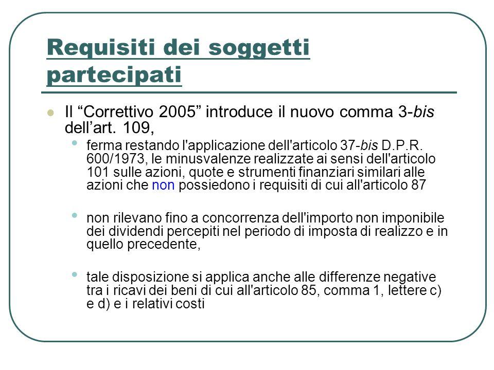 Requisiti dei soggetti partecipati Il Correttivo 2005 introduce il nuovo comma 3-bis dellart. 109, ferma restando l'applicazione dell'articolo 37-bis
