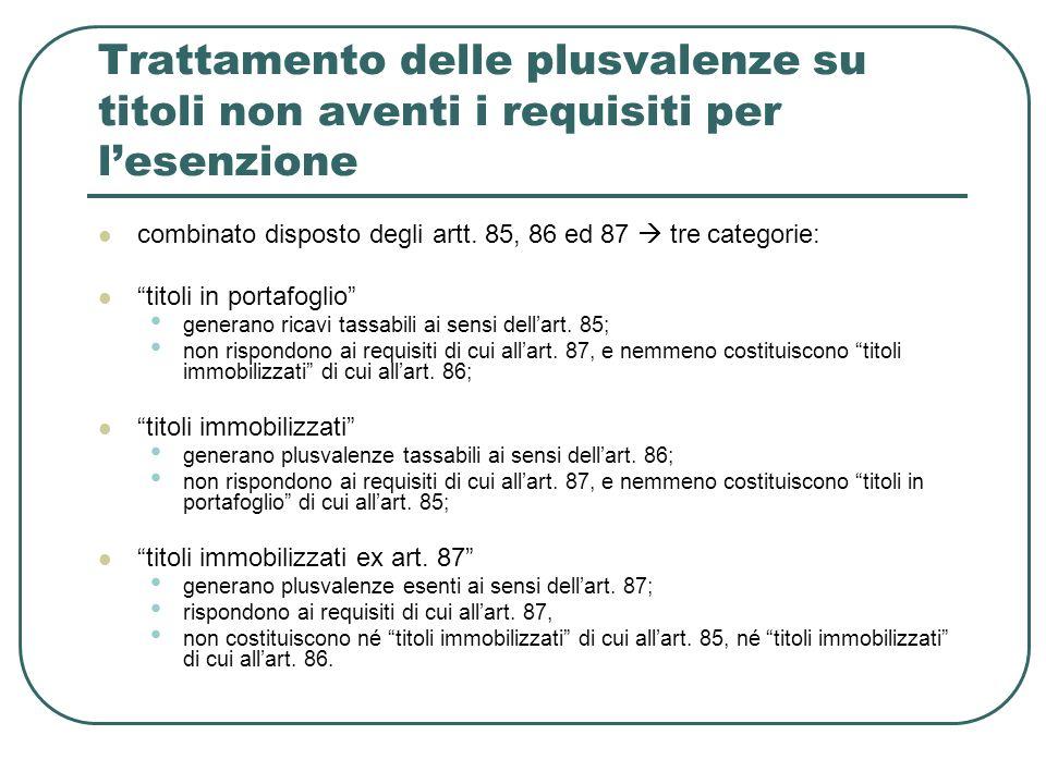 Trattamento delle plusvalenze su titoli non aventi i requisiti per lesenzione combinato disposto degli artt. 85, 86 ed 87 tre categorie: titoli in por