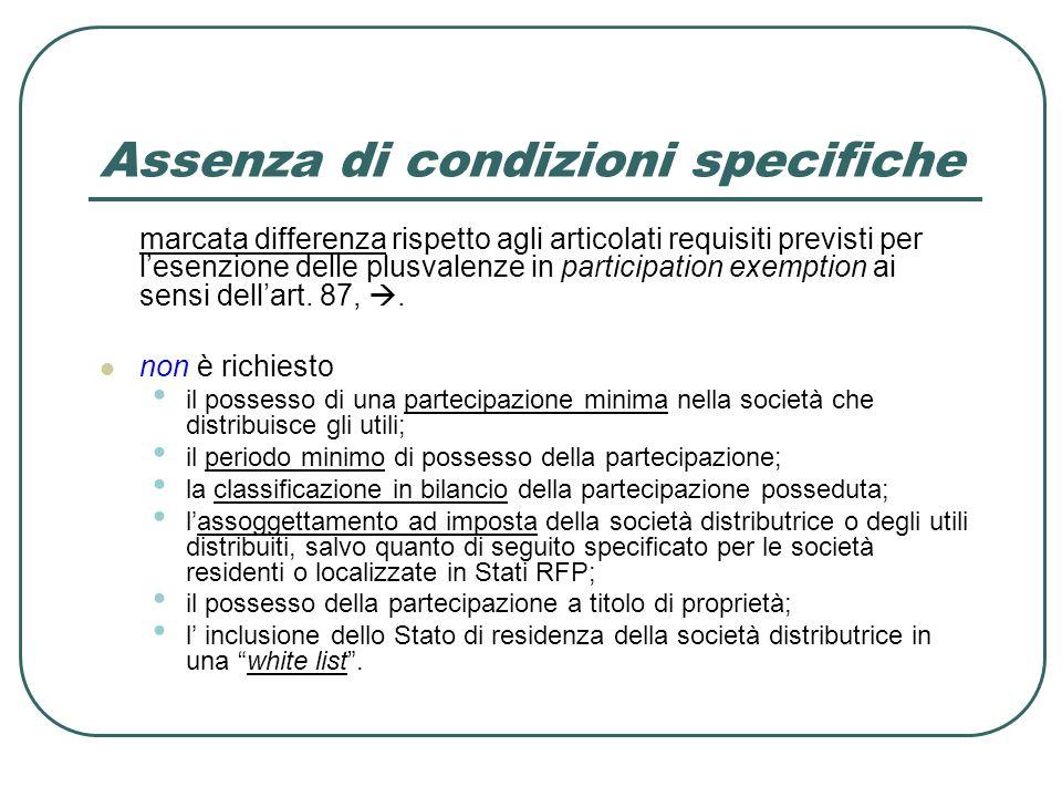 Assenza di condizioni specifiche marcata differenza rispetto agli articolati requisiti previsti per lesenzione delle plusvalenze in participation exemption ai sensi dellart.