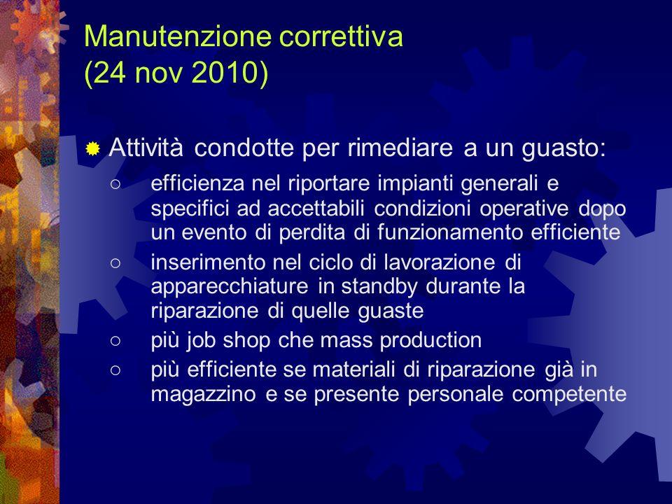 Manutenzione correttiva (24 nov 2010) Attività condotte per rimediare a un guasto: efficienza nel riportare impianti generali e specifici ad accettabi