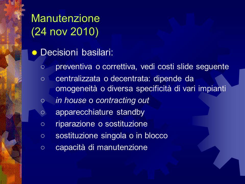 Manutenzione (24 nov 2010) Decisioni basilari: preventiva o correttiva, vedi costi slide seguente centralizzata o decentrata: dipende da omogeneità o