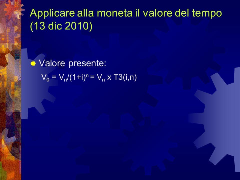 Valore presente: V 0 = V n /(1+i) n = V n x T3(i,n)