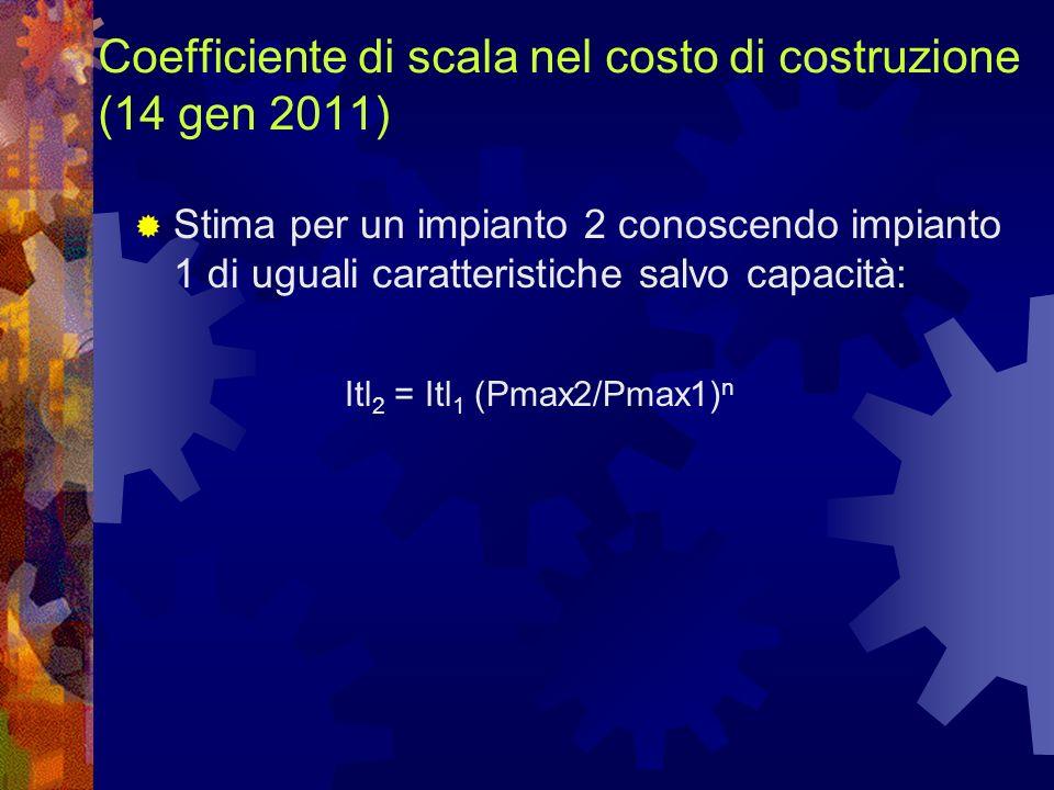 Coefficiente di scala nel costo di costruzione (14 gen 2011) Stima per un impianto 2 conoscendo impianto 1 di uguali caratteristiche salvo capacità: I