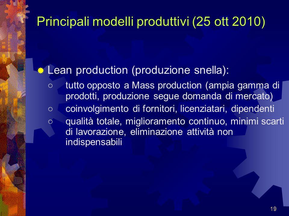19 Principali modelli produttivi (25 ott 2010) Lean production (produzione snella): tutto opposto a Mass production (ampia gamma di prodotti, produzio