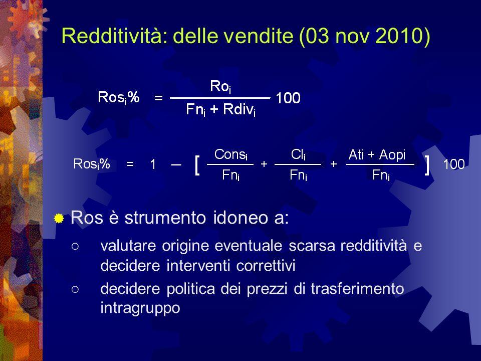 Redditività: delle vendite (03 nov 2010) Ros è strumento idoneo a: valutare origine eventuale scarsa redditività e decidere interventi correttivi deci