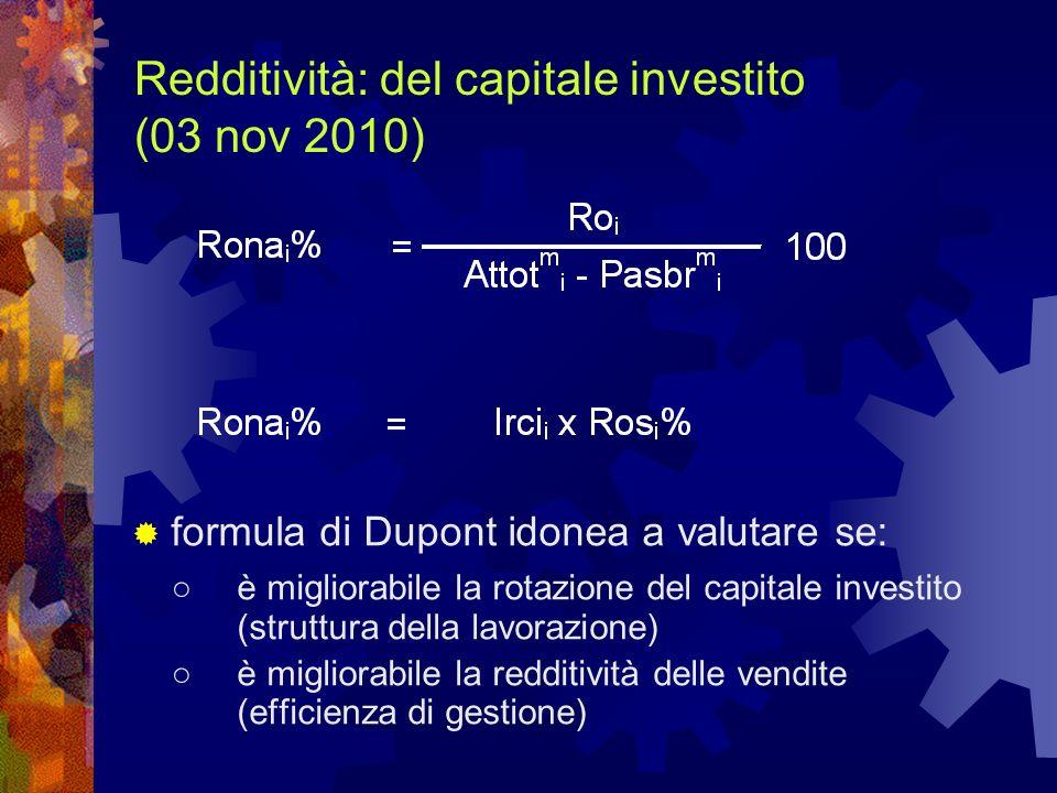 Redditività: del capitale investito (03 nov 2010) formula di Dupont idonea a valutare se: è migliorabile la rotazione del capitale investito (struttur