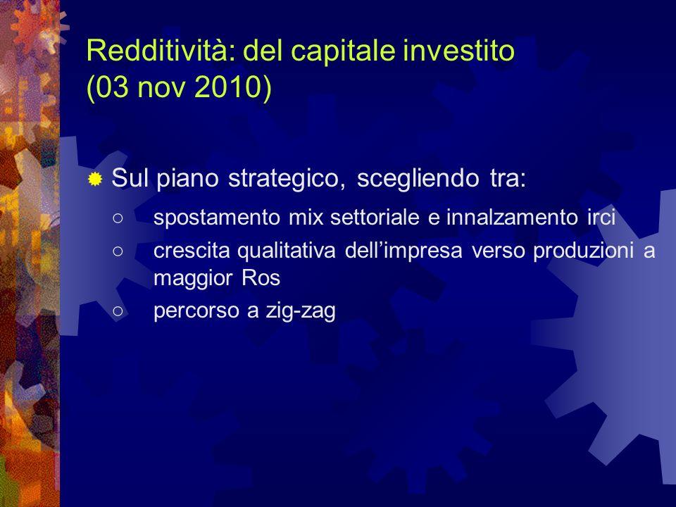 Redditività: del capitale investito (03 nov 2010) Sul piano strategico, scegliendo tra: spostamento mix settoriale e innalzamento irci crescita qualit