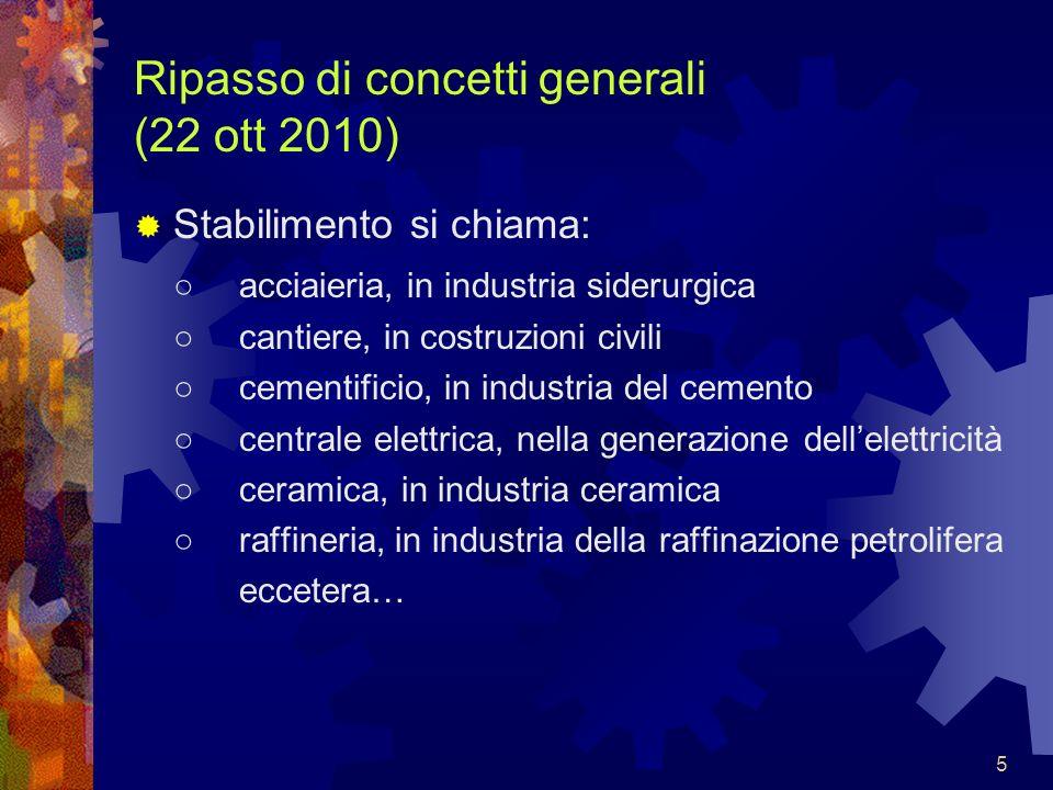 5 Ripasso di concetti generali (22 ott 2010) Stabilimento si chiama: acciaieria, in industria siderurgica cantiere, in costruzioni civili cementificio