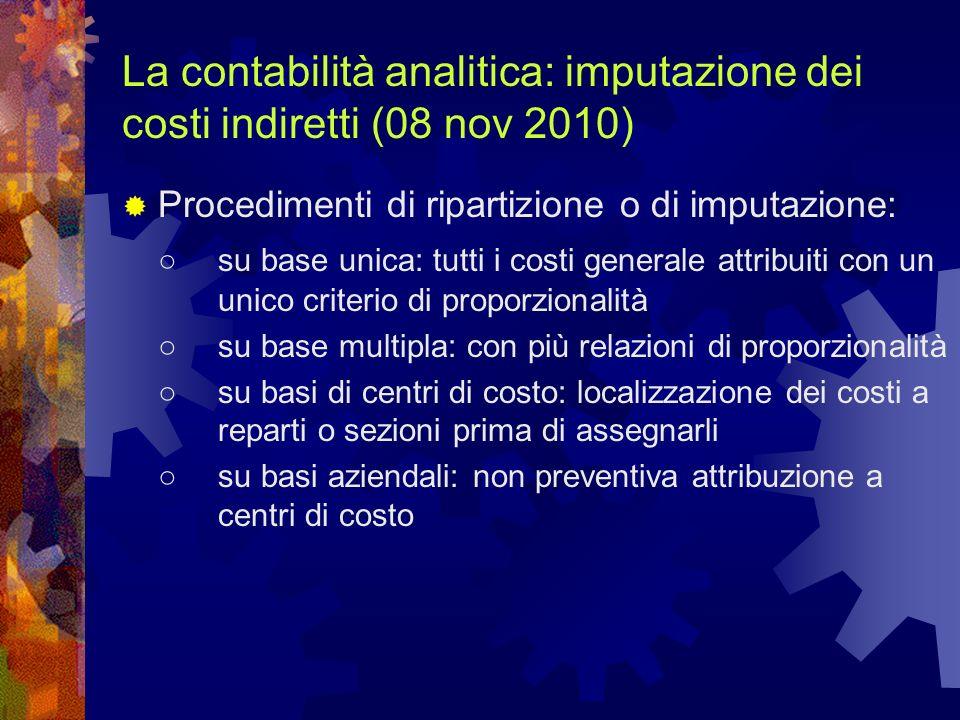La contabilità analitica: imputazione dei costi indiretti (08 nov 2010) Procedimenti di ripartizione o di imputazione: su base unica: tutti i costi ge