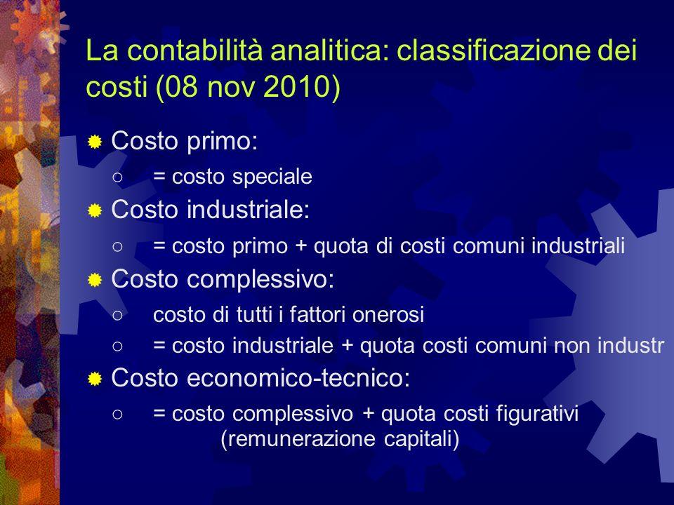 La contabilità analitica: classificazione dei costi (08 nov 2010) Costo primo: = costo speciale Costo industriale: = costo primo + quota di costi comu