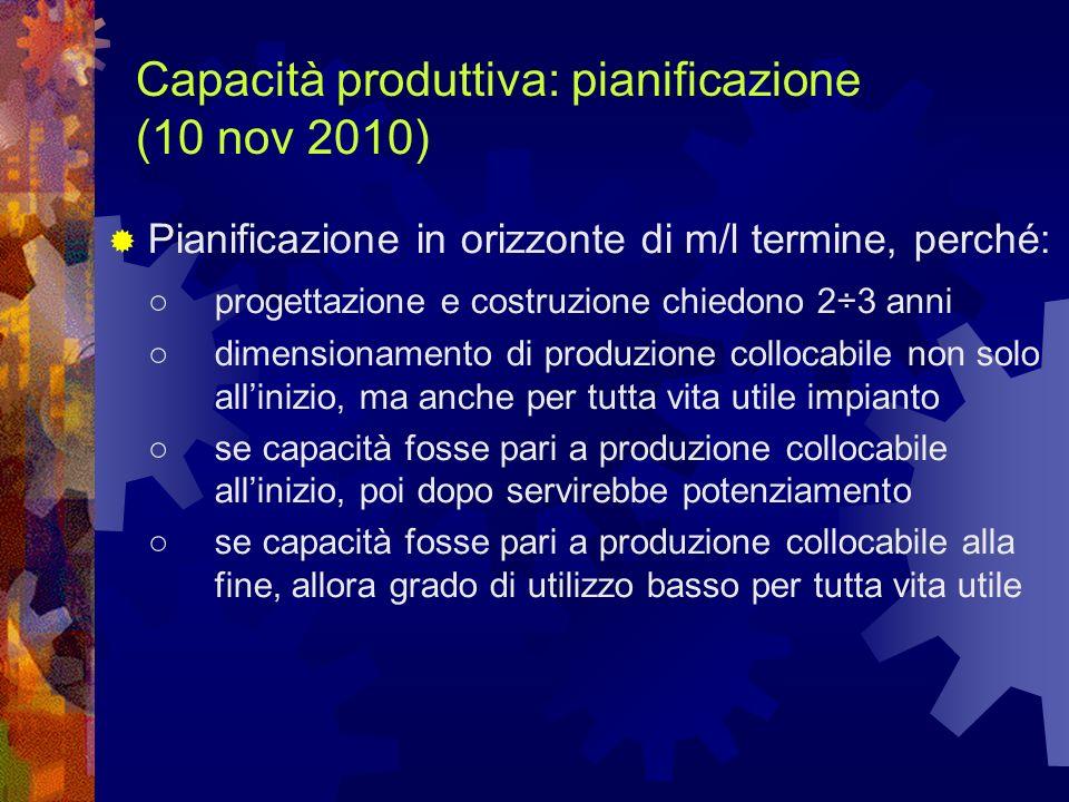 Capacità produttiva: pianificazione (10 nov 2010) Pianificazione in orizzonte di m/l termine, perché: progettazione e costruzione chiedono 2÷3 anni di