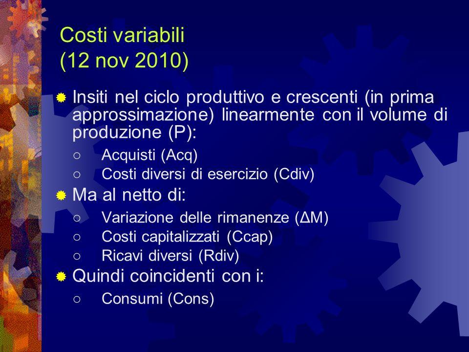 Costi variabili (12 nov 2010) Insiti nel ciclo produttivo e crescenti (in prima approssimazione) linearmente con il volume di produzione (P): Acquisti