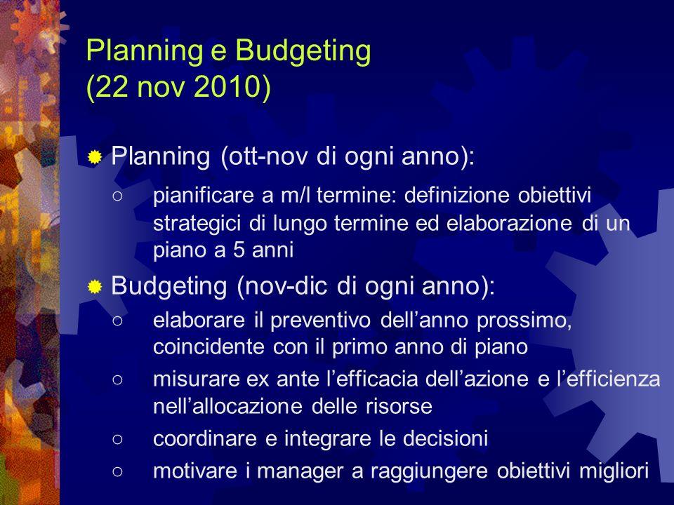 Planning e Budgeting (22 nov 2010) Planning (ott-nov di ogni anno): pianificare a m/l termine: definizione obiettivi strategici di lungo termine ed el