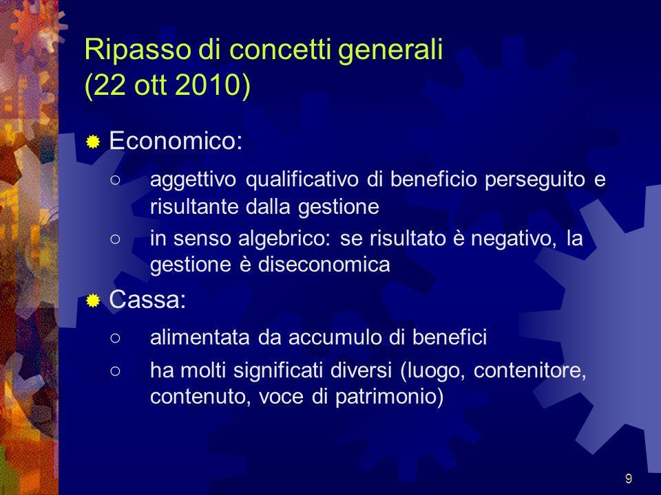 9 Ripasso di concetti generali (22 ott 2010) Economico: aggettivo qualificativo di beneficio perseguito e risultante dalla gestione in senso algebrico