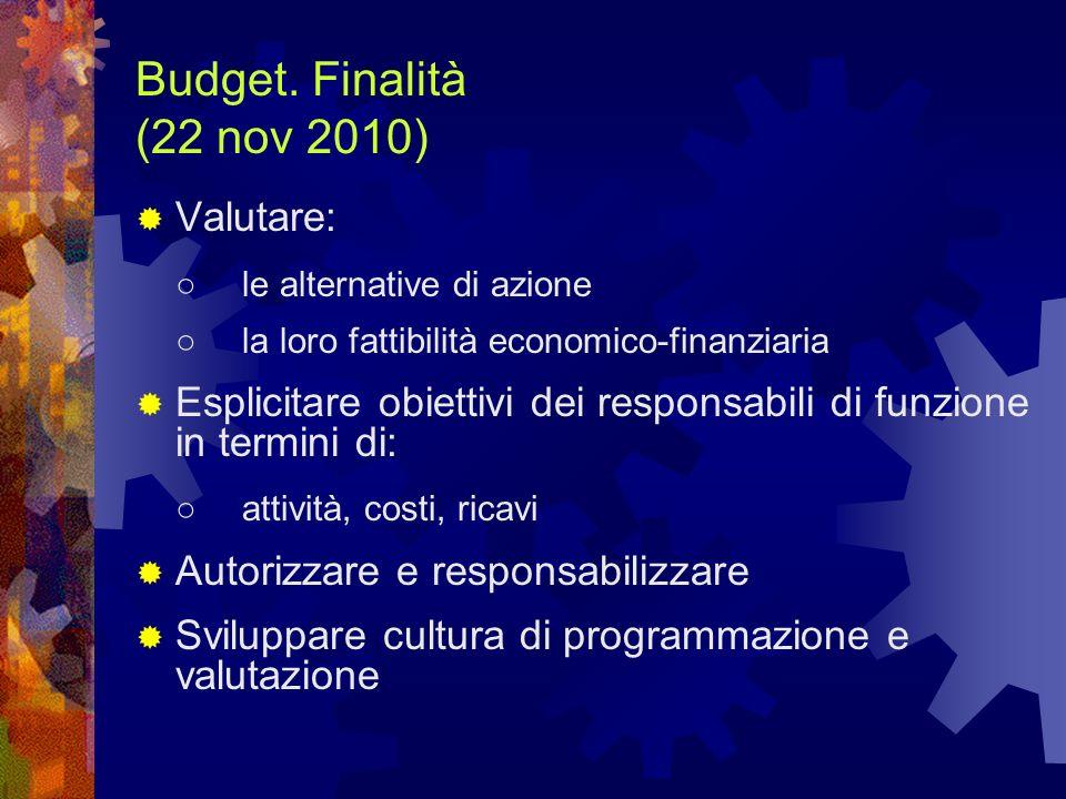 Budget. Finalità (22 nov 2010) Valutare: le alternative di azione la loro fattibilità economico-finanziaria Esplicitare obiettivi dei responsabili di