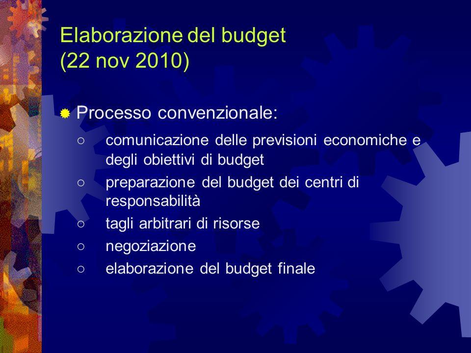 Elaborazione del budget (22 nov 2010) Processo convenzionale: comunicazione delle previsioni economiche e degli obiettivi di budget preparazione del b