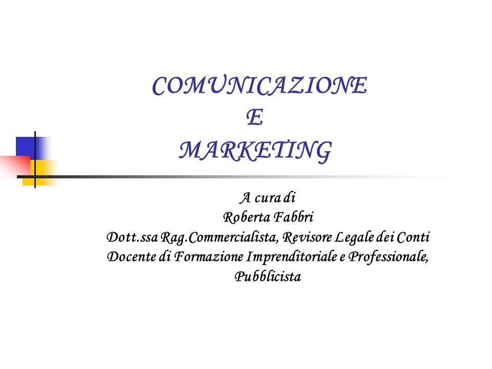 COMUNICAZIONE E MARKETING A cura di Roberta Fabbri Dott.ssa Rag.Commercialista, Revisore Legale dei Conti Docente di Formazione Imprenditoriale e Prof