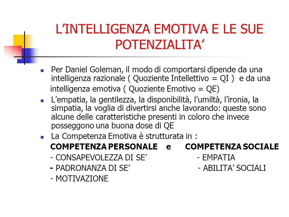 LINTELLIGENZA EMOTIVA E LE SUE POTENZIALITA Per Daniel Goleman, il modo di comportarsi dipende da una intelligenza razionale ( Quoziente Intellettivo