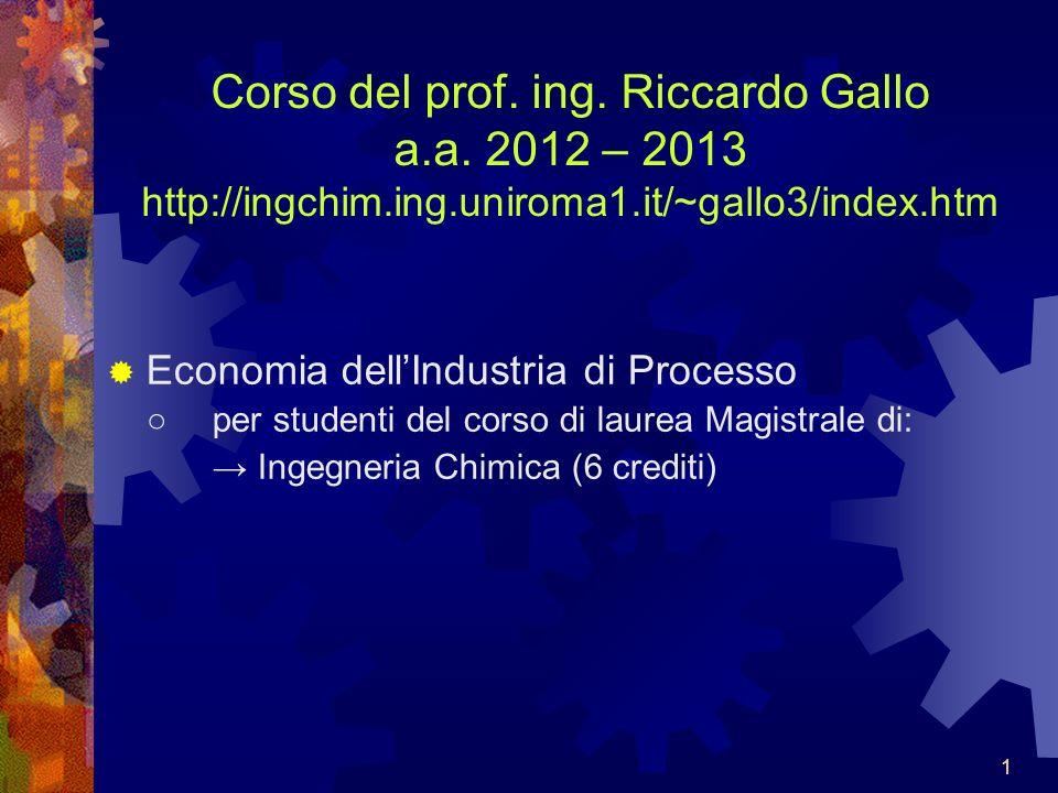 1111 Corso del prof.ing. Riccardo Gallo a.a.