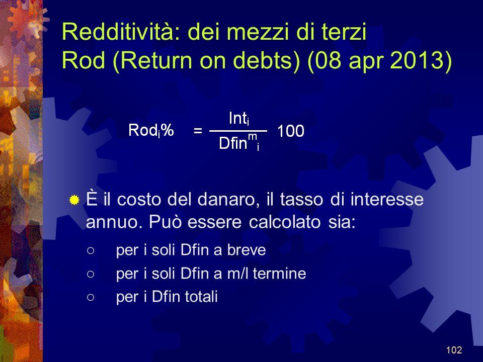 102 Redditività: dei mezzi di terzi Rod (Return on debts) (08 apr 2013) È il costo del danaro, il tasso di interesse annuo.