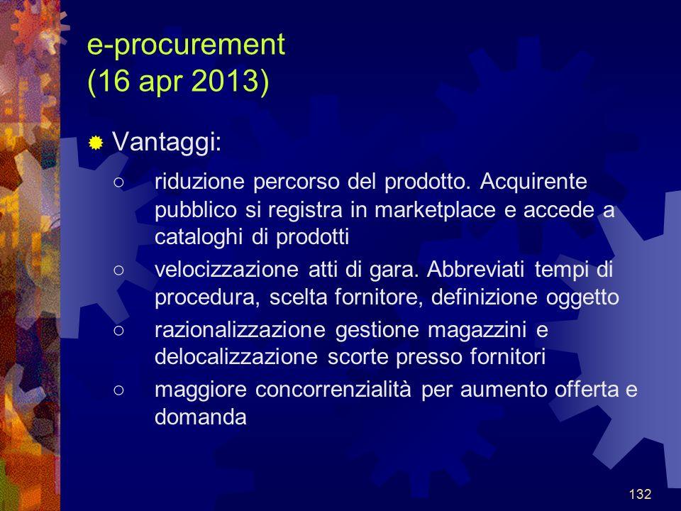 132 e-procurement (16 apr 2013) Vantaggi: riduzione percorso del prodotto.