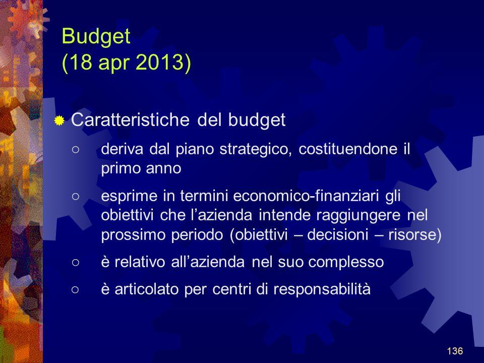 136 Budget (18 apr 2013) Caratteristiche del budget deriva dal piano strategico, costituendone il primo anno esprime in termini economico-finanziari gli obiettivi che lazienda intende raggiungere nel prossimo periodo (obiettivi – decisioni – risorse) è relativo allazienda nel suo complesso è articolato per centri di responsabilità 136