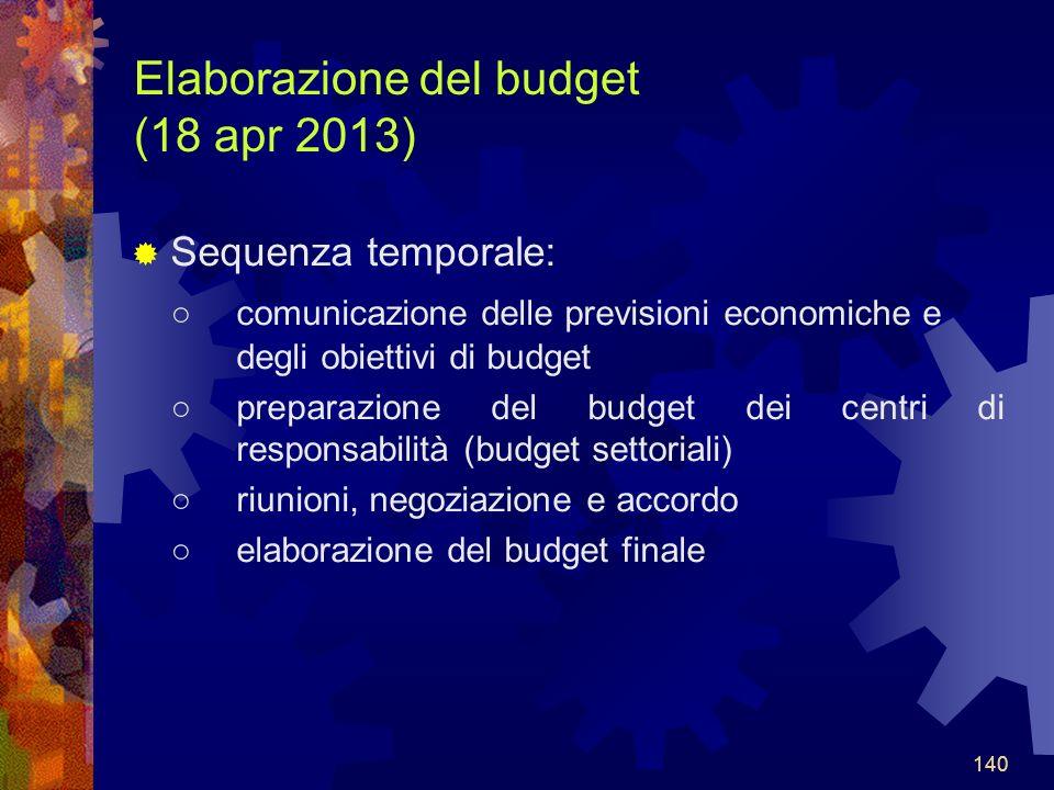 140 Elaborazione del budget (18 apr 2013) Sequenza temporale: comunicazione delle previsioni economiche e degli obiettivi di budget preparazione del budget dei centri di responsabilità (budget settoriali) riunioni, negoziazione e accordo elaborazione del budget finale 140