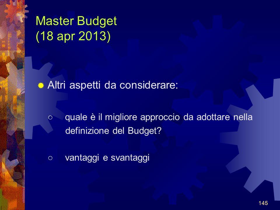 145 Master Budget (18 apr 2013) Altri aspetti da considerare: quale è il migliore approccio da adottare nella definizione del Budget.