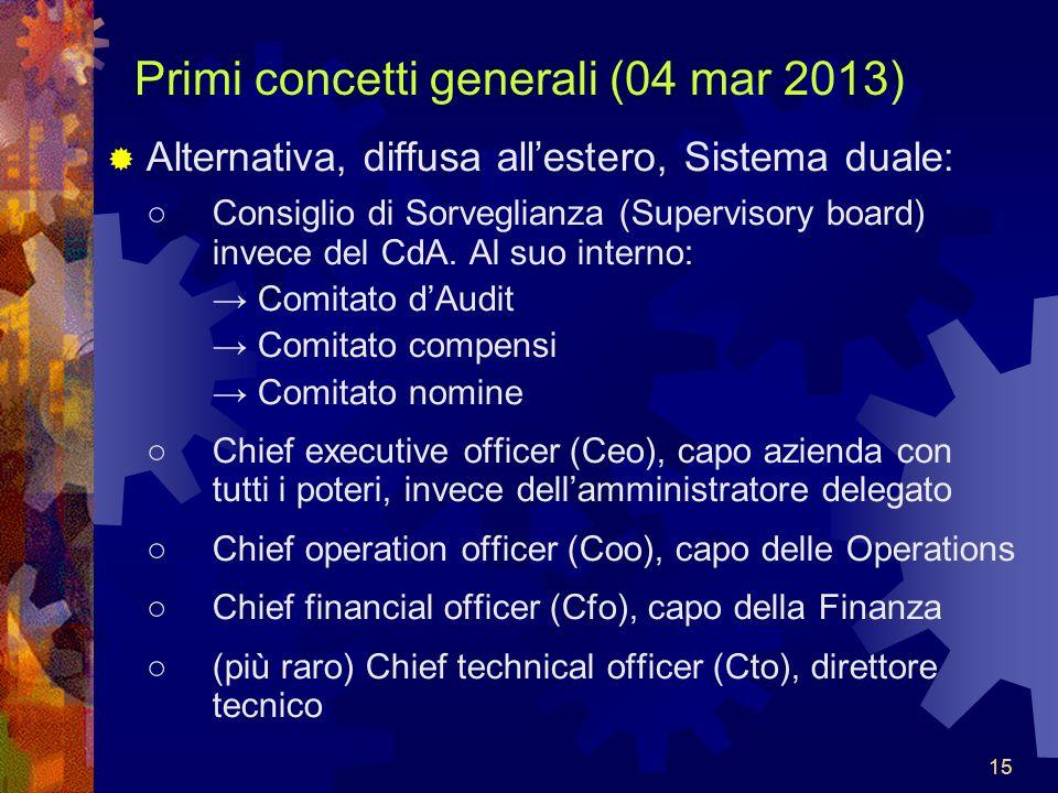 15 Primi concetti generali (04 mar 2013) Alternativa, diffusa allestero, Sistema duale: Consiglio di Sorveglianza (Supervisory board) invece del CdA.