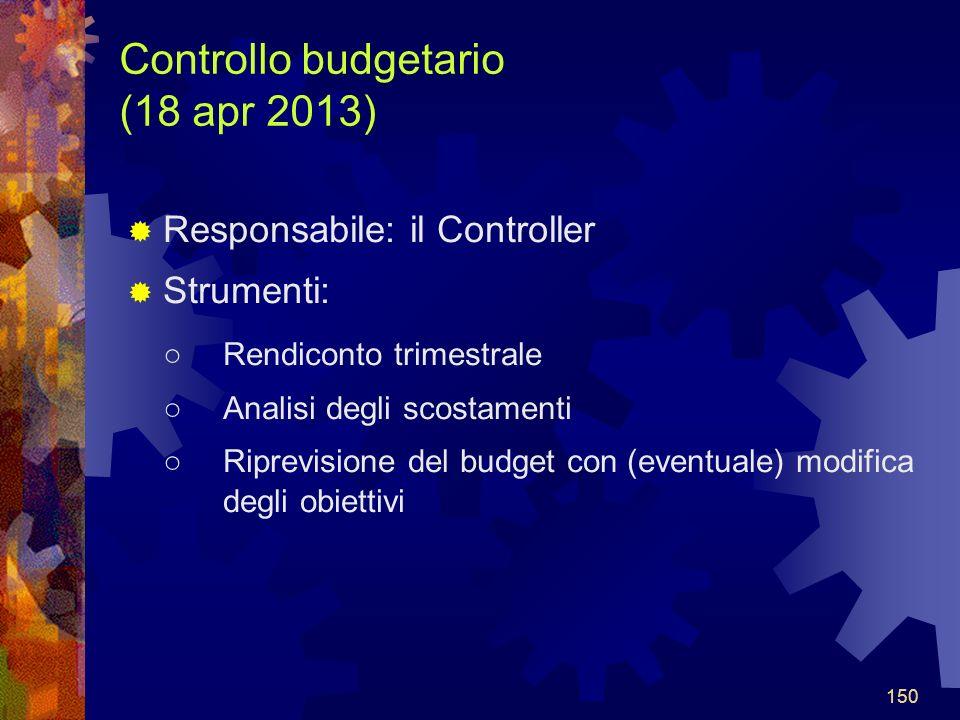 150 Controllo budgetario (18 apr 2013) Responsabile: il Controller Strumenti: Rendiconto trimestrale Analisi degli scostamenti Riprevisione del budget con (eventuale) modifica degli obiettivi 150