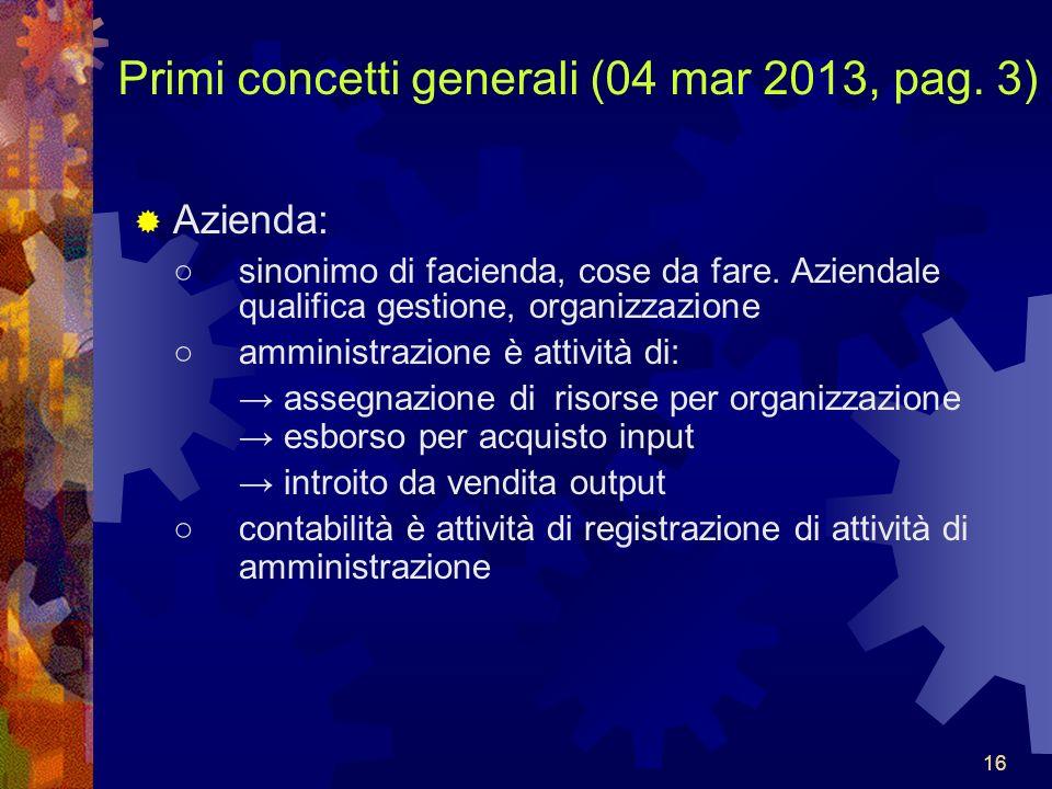 16 Primi concetti generali (04 mar 2013, pag.3) Azienda: sinonimo di facienda, cose da fare.