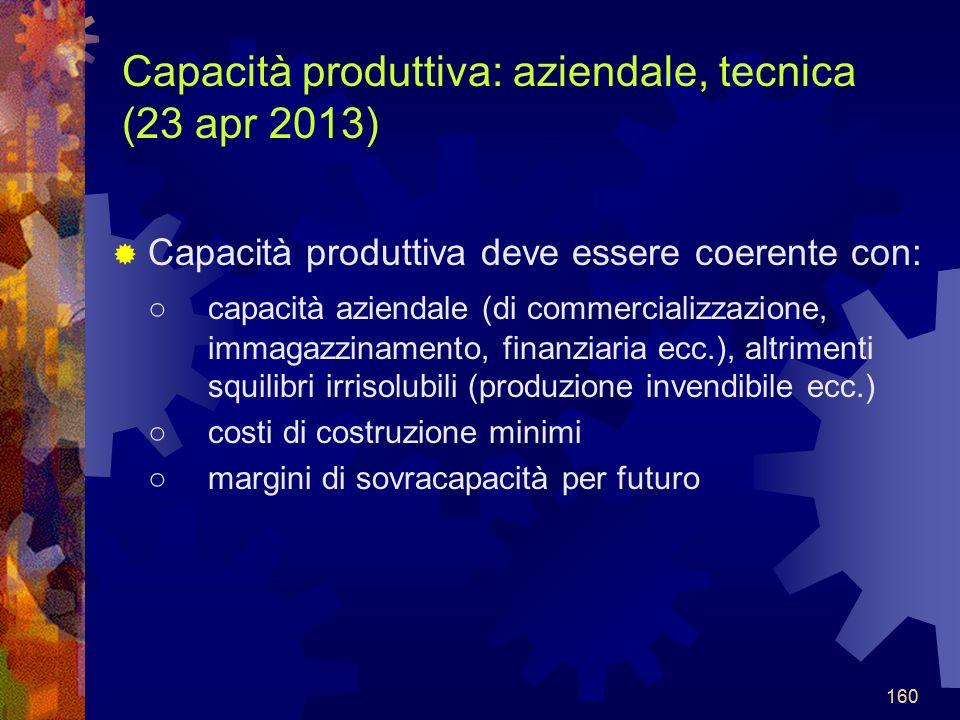160 Capacità produttiva: aziendale, tecnica (23 apr 2013) Capacità produttiva deve essere coerente con: capacità aziendale (di commercializzazione, immagazzinamento, finanziaria ecc.), altrimenti squilibri irrisolubili (produzione invendibile ecc.) costi di costruzione minimi margini di sovracapacità per futuro 160