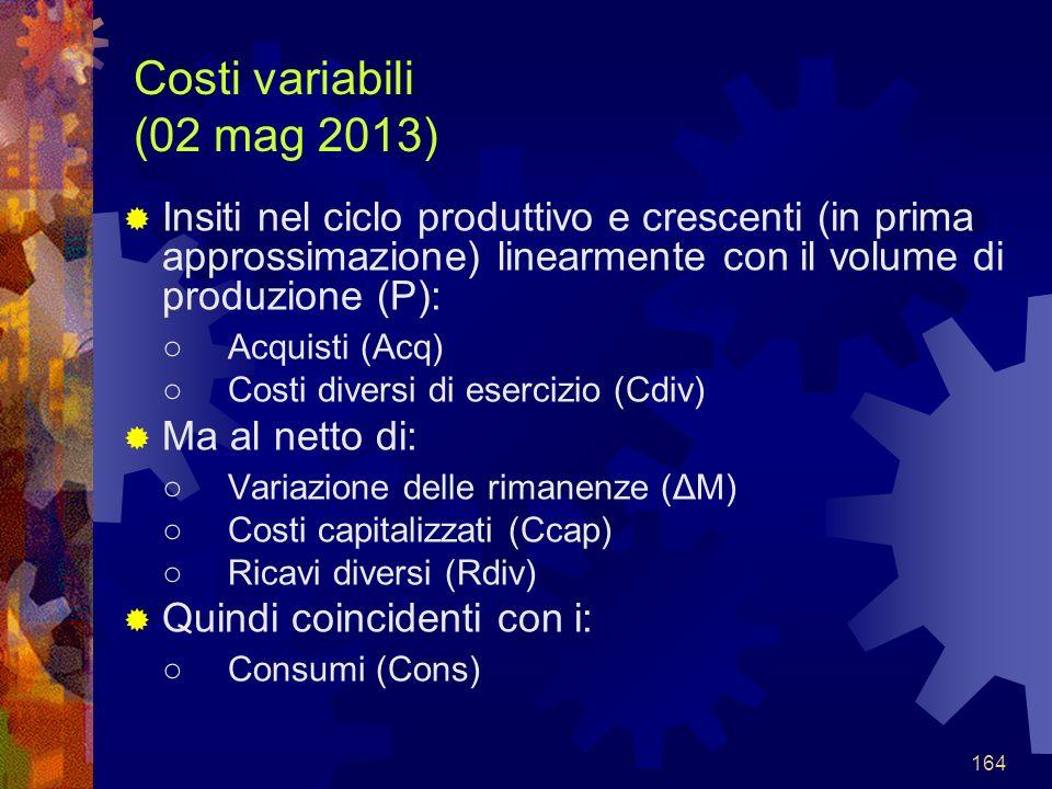 164 Costi variabili (02 mag 2013) Insiti nel ciclo produttivo e crescenti (in prima approssimazione) linearmente con il volume di produzione (P): Acquisti (Acq) Costi diversi di esercizio (Cdiv) Ma al netto di: Variazione delle rimanenze (ΔM) Costi capitalizzati (Ccap) Ricavi diversi (Rdiv) Quindi coincidenti con i: Consumi (Cons)