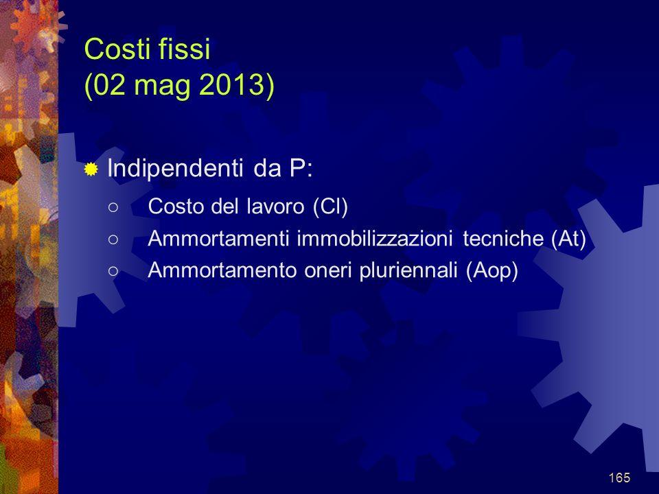 165 Costi fissi (02 mag 2013) Indipendenti da P: Costo del lavoro (Cl) Ammortamenti immobilizzazioni tecniche (At) Ammortamento oneri pluriennali (Aop)