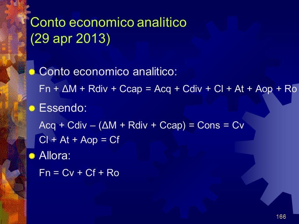 166 Conto economico analitico (29 apr 2013) Conto economico analitico: Fn + ΔM + Rdiv + Ccap = Acq + Cdiv + Cl + At + Aop + Ro Essendo: Acq + Cdiv – (ΔM + Rdiv + Ccap) = Cons = Cv Cl + At + Aop = Cf Allora: Fn = Cv + Cf + Ro