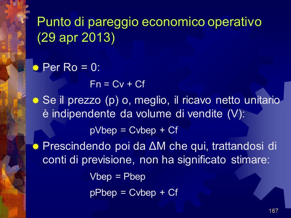 167 Punto di pareggio economico operativo (29 apr 2013) Per Ro = 0: Fn = Cv + Cf Se il prezzo (p) o, meglio, il ricavo netto unitario è indipendente da volume di vendite (V): pVbep = Cvbep + Cf Prescindendo poi da ΔM che qui, trattandosi di conti di previsione, non ha significato stimare: Vbep = Pbep pPbep = Cvbep + Cf