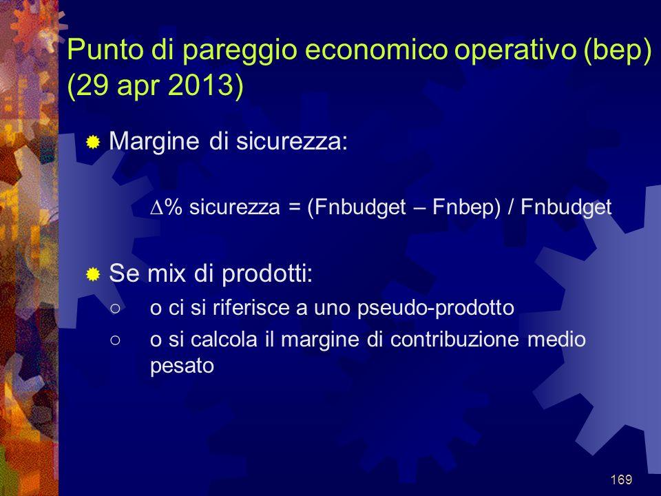 169 Punto di pareggio economico operativo (bep) (29 apr 2013) Margine di sicurezza: % sicurezza = (Fnbudget – Fnbep) / Fnbudget Se mix di prodotti: o ci si riferisce a uno pseudo-prodotto o si calcola il margine di contribuzione medio pesato