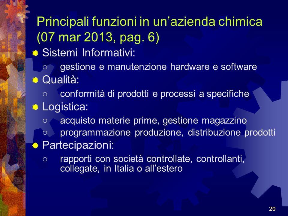 20 Principali funzioni in unazienda chimica (07 mar 2013, pag.