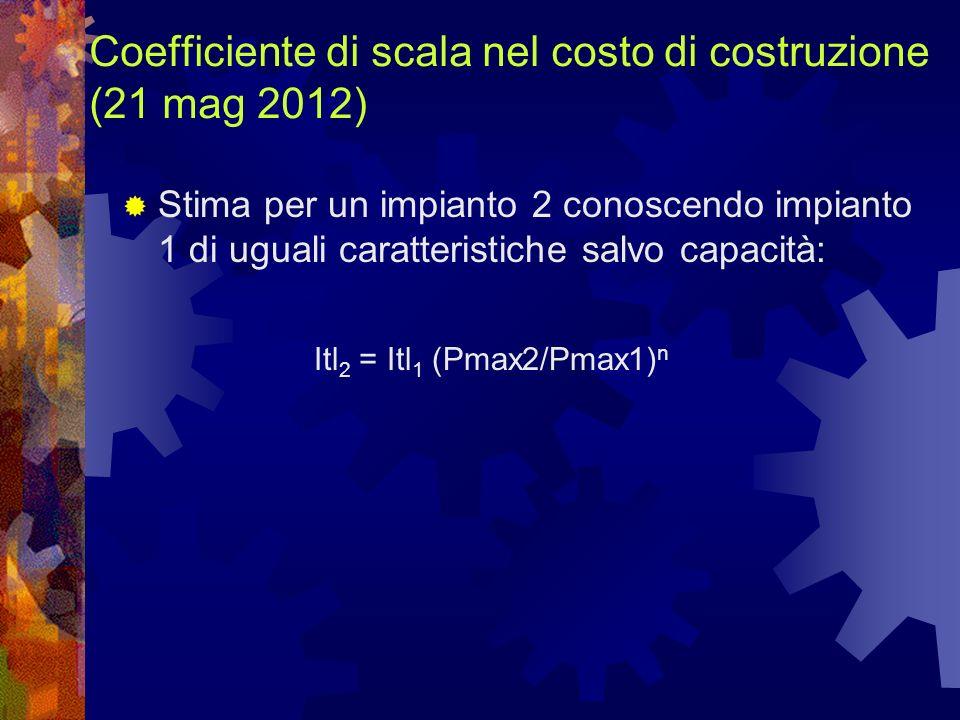 Coefficiente di scala nel costo di costruzione (21 mag 2012) Stima per un impianto 2 conoscendo impianto 1 di uguali caratteristiche salvo capacità: Itl 2 = Itl 1 (Pmax2/Pmax1) n