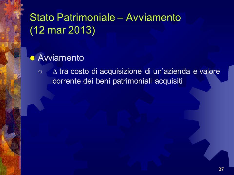 37 Stato Patrimoniale – Avviamento (12 mar 2013) Avviamento tra costo di acquisizione di unazienda e valore corrente dei beni patrimoniali acquisiti