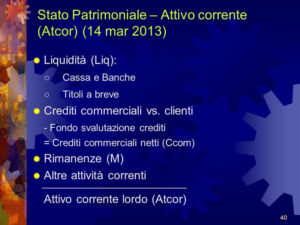 40 Stato Patrimoniale – Attivo corrente (Atcor) (14 mar 2013) Liquidità (Liq): Cassa e Banche Titoli a breve Crediti commerciali vs.