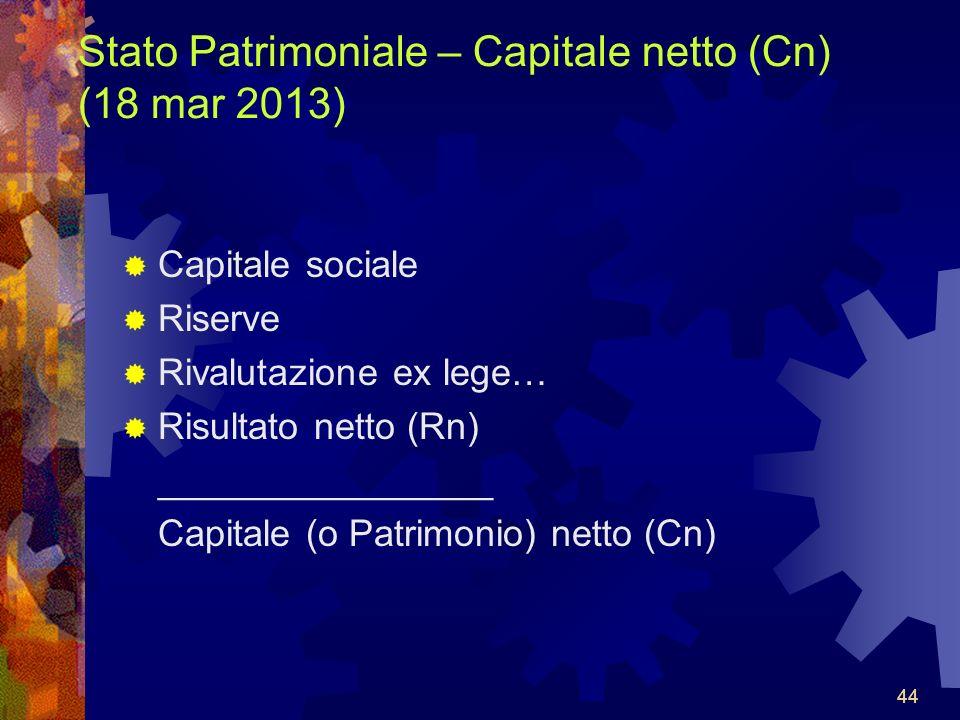 44 Stato Patrimoniale – Capitale netto (Cn) (18 mar 2013) Capitale sociale Riserve Rivalutazione ex lege… Risultato netto (Rn) ________________ Capitale (o Patrimonio) netto (Cn) 44